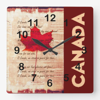 rotes kanadisches Ahornblatt mit athem Kanada Wanduhren