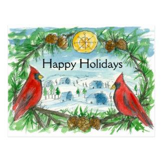 Rotes Kardinals-Vogel-Winter-Dorf-glückliche Postkarte