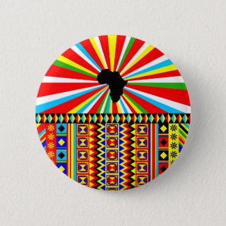 Rotes Kente Stoff-Muster-afrikanischer Druck Runder Button 5,7 Cm