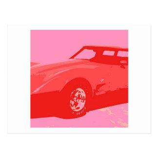 Rotes klassisches Auto 1979 Postkarte