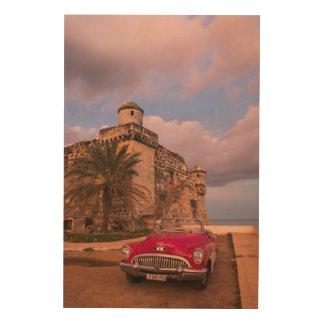 Rotes klassisches Auto, Kuba Holzdruck