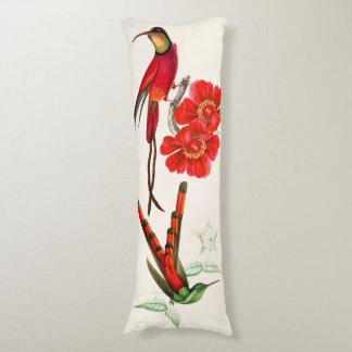 Rotes Kolibri-Vogel-Tier-Blumen-Körper-Kissen Seitenschläferkissen