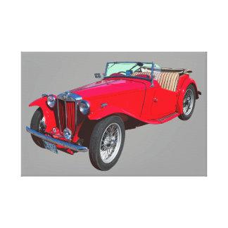 Rotes konvertierbares antikes Sport-Auto MGs Leinwand Druck