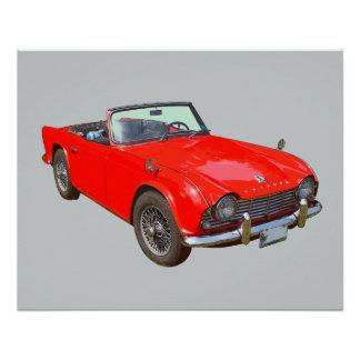 Rotes konvertierbares Sport-Auto Triumphs Tr4 Perfektes Poster