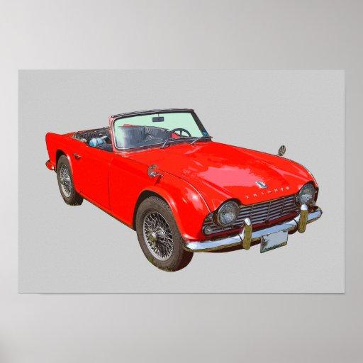 Rotes konvertierbares Sport-Auto Triumphs Tr4 Posterdruck