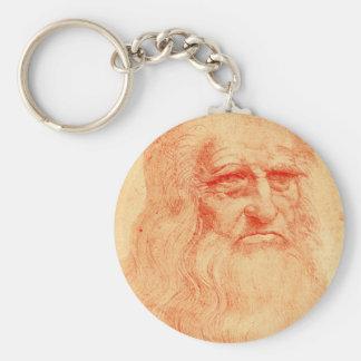 Rotes Kreideselbstporträt von Leonardo da Vinci Schlüsselanhänger