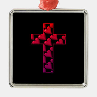 Rotes Kreuz gefüllt mit Herzen Silbernes Ornament