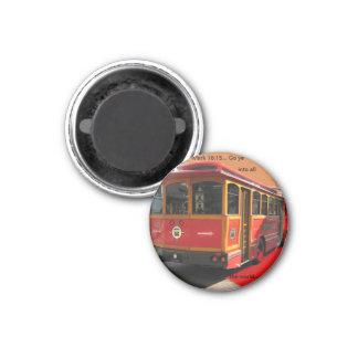Rotes Laufkatze-Busscripture-Kennzeichen-16:15 Runder Magnet 3,2 Cm