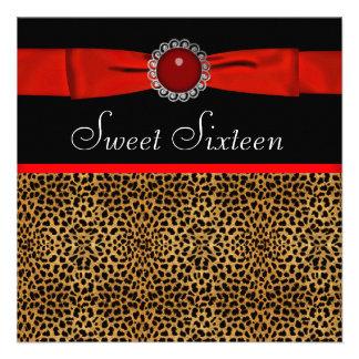 Rotes Leopard-16 Geburtstag-Geburtstags-Party Individuelle Ankündigskarten