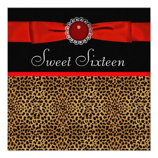 Rotes Leopard-16. Geburtstag-Geburtstags-Party Individuelle Ankündigskarten