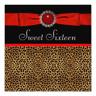 Rotes Leopard-16. Geburtstag-Geburtstags-Party Quadratische 13,3 Cm Einladungskarte