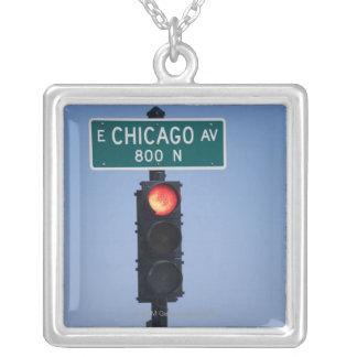 Rotes Licht, Chicago Illinois, USA Versilberte Kette