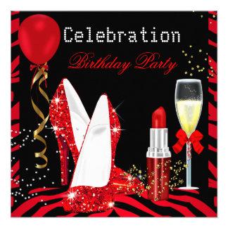 Rotes Lippenstift-Glitterzebra-Geburtstags-Party Personalisierte Ankündigung