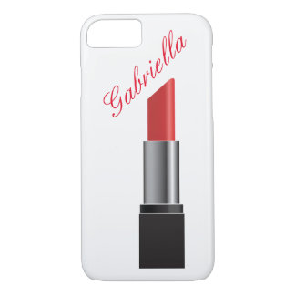 Rotes Lippenstift-Monogramm iPhone 8/7 Hülle