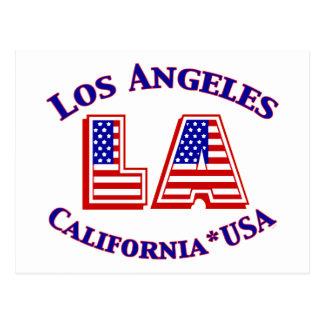 Rotes Los Angeles-USA patriotisches, weißes u. Postkarte