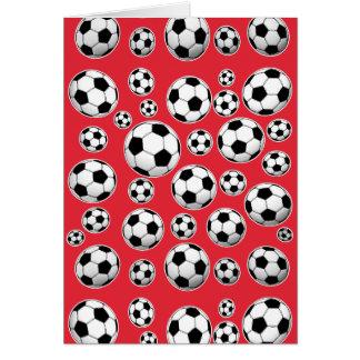 Rotes lustiges Fußball-Muster Mitteilungskarte