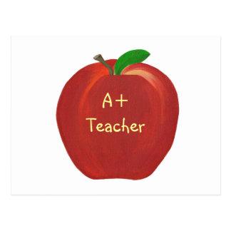Rotes malendes Apple, A+ Lehrerpostkarten Postkarte