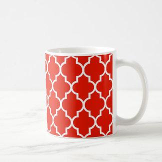 Rotes Marokkaner Quatrefoil Muster Kaffeetasse