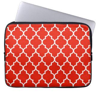 Rotes Marokkaner Quatrefoil Muster Laptopschutzhülle