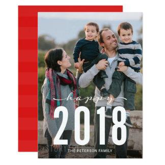 Rotes modernes glückliches Feiertags-Foto des 12,7 X 17,8 Cm Einladungskarte