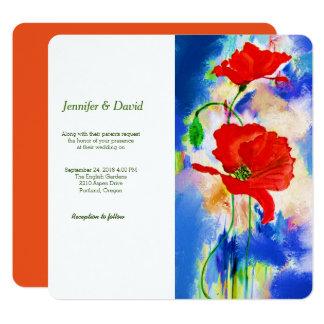 Rotes Mohnblumen-Aquarell-kundenspezifische Quadratische 13,3 Cm Einladungskarte