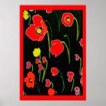 Rotes Mohnblumen-Blumen-Plakat