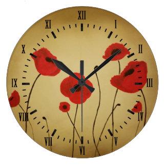 Rotes Mohnblumen-Blumen-Schwarz-römische Ziffern Große Wanduhr