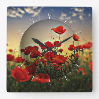 Rotes Mohnblumen-Feld Quadratische Wanduhr