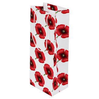 Rotes Mohnblumen-Muster-hohe Geschenk-Tasche Geschenktüte Für Weinflaschen