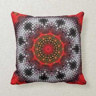 Rotes Mosaik-Kaleidoskop Kissen