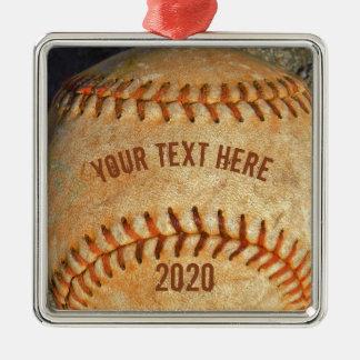Rotes Nähen des Vintagen weißen Baseballs Quadratisches Silberfarbenes Ornament