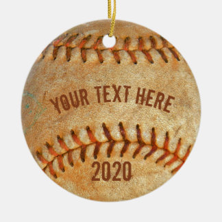 Rotes Nähen des Vintagen weißen Baseballs Rundes Keramik Ornament