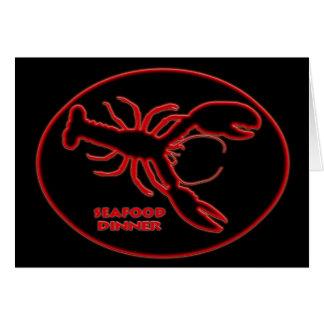Rotes Neonhummer-Meeresfrüchte-Abendessen-Zeichen Karte