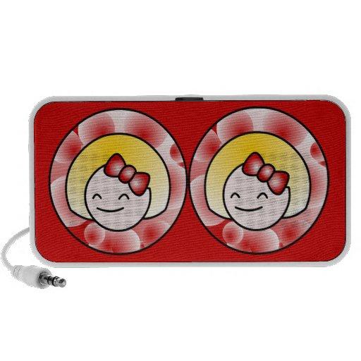 Rotes niedliches blondes Mädchen Notebook Lautsprecher