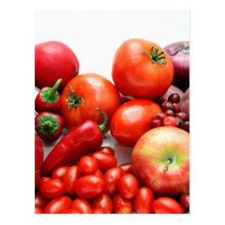Rotes Obst und Gemüse Postkarte