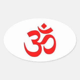 Rotes OM-Symbol Ovaler Aufkleber