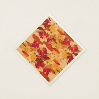 Rotes orange gelbes Brown-Herbst-Laub Papierserviette