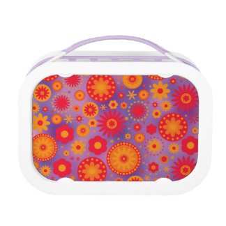Rotes orange u. lila Hippy Blumen-Muster Brotdose
