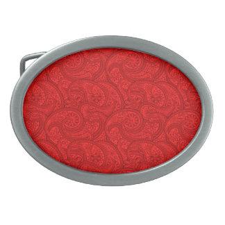 Rotes Paisley Ovale Gürtelschnalle