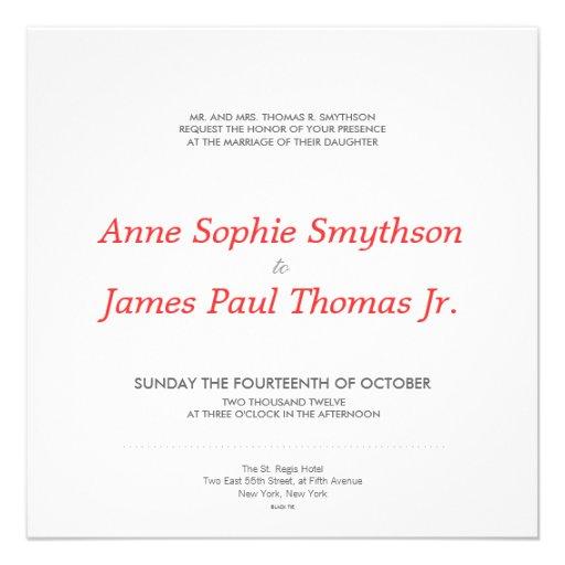 ROTES PALMEN II Wedding Einladung