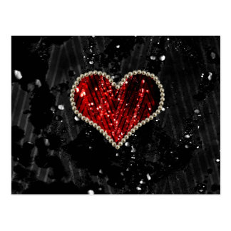 Rotes Perlen-Herz Postkarten