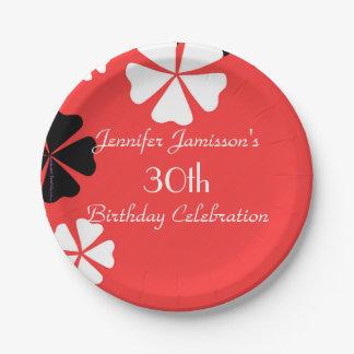 Rotes personalisiertes 30. Geburtstags-mit Pappteller