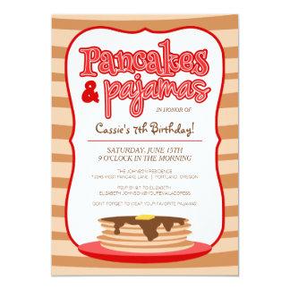 Rotes Pfannkuchen-und Pyjama-Geburtstags-Party 12,7 X 17,8 Cm Einladungskarte