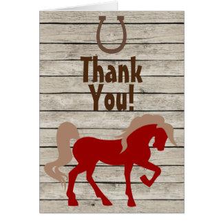 Rotes Pferd, Hufeisen und Scheunen-Holz dankt Karte