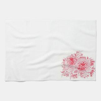 Rotes Pfingstrosen-Geschirrtuch Handtuch