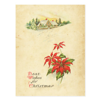Rotes Poinsettia-beste Wunsch-Vintages Postkarte