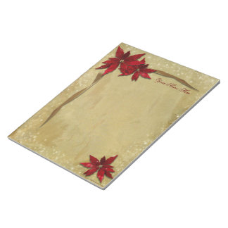 Rotes Poinsettia-Gold Notizblock