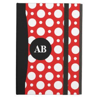 Rotes Polka-Punkt-Monogramm-iPad Air ケース