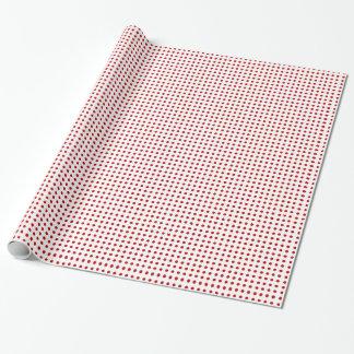 Rotes Punkt-Muster auf weißem Geschenk-Packpapier Geschenkpapier