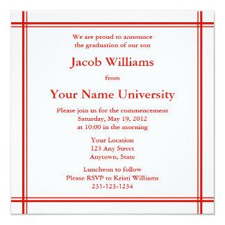 Rotes Quadrat-Abschluss-Einladung oder Mitteilung Karte